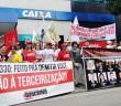 Manifestação contra terceirização em frente à Caixa Economica